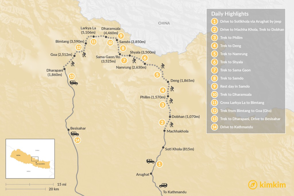Map of Manaslu Circuit Trek: Group Departures - 14 Days