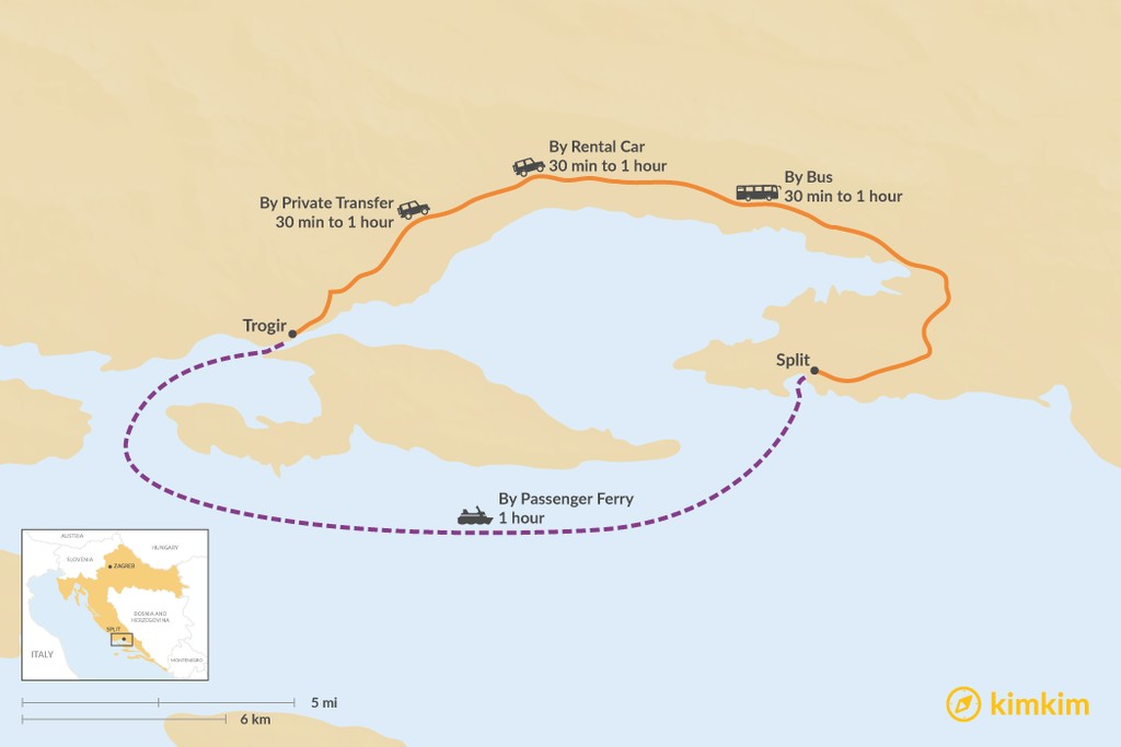 Map of How to Get from Trogir to Split