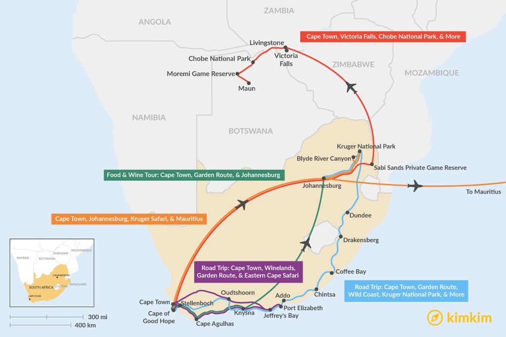 Map of 15 Days in South Africa - 5 Unique Itinerary Ideas