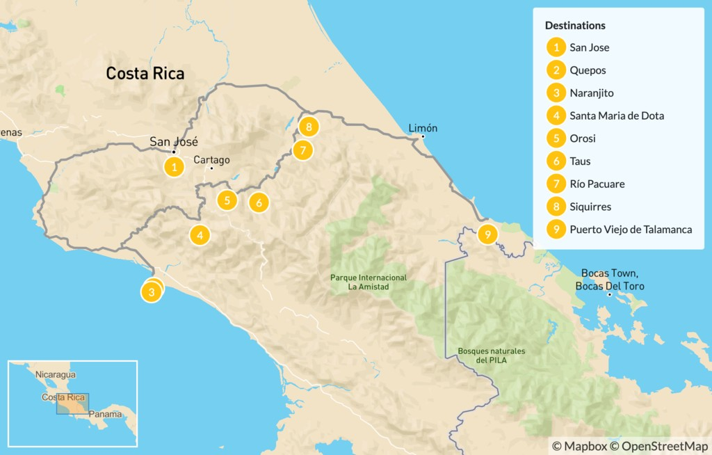Map of Costa Rica Overland Cycling & Rafting Trip  - 10 Days