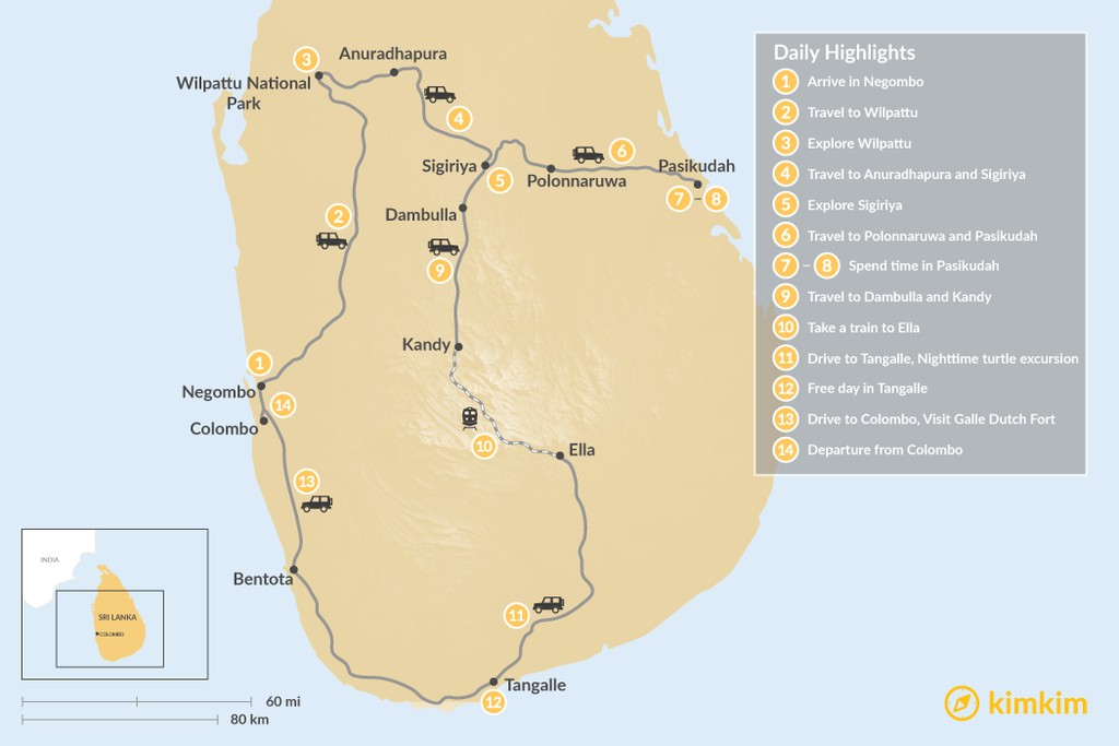 Map of Ancient History & Pristine Beaches in Sri Lanka - 14 Days