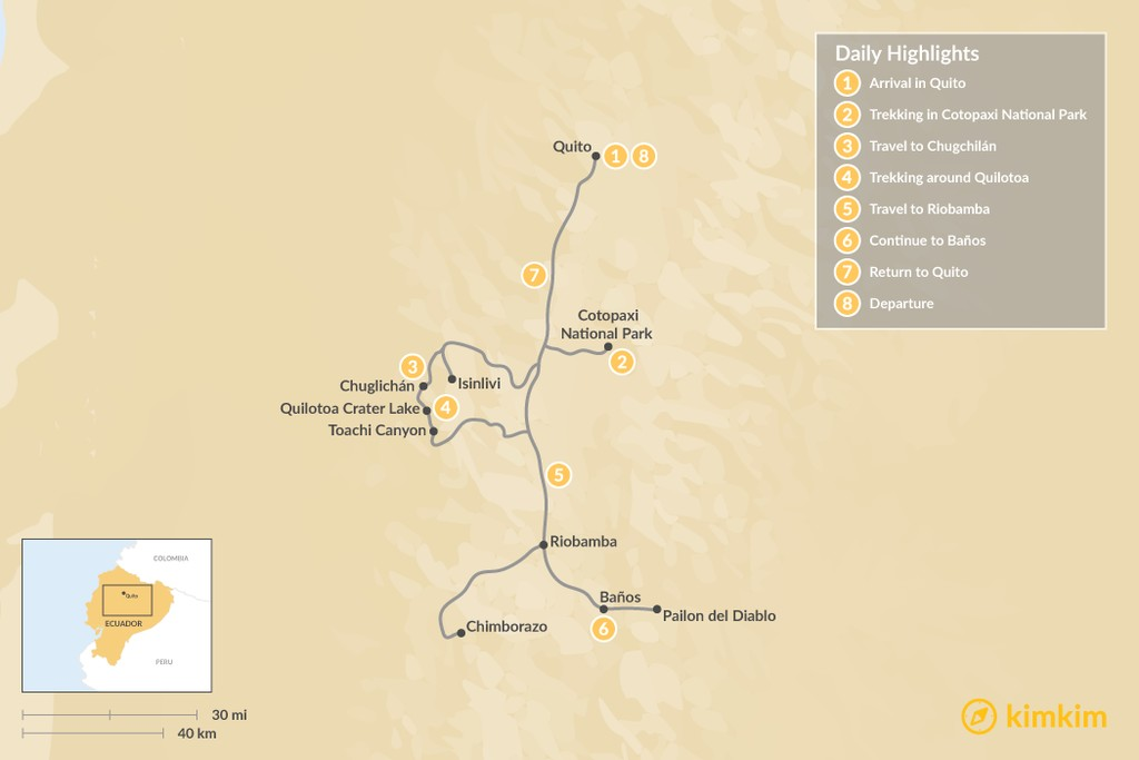 Map of Trekking Ecuador's Avenue of the Volcanoes - 8 Days