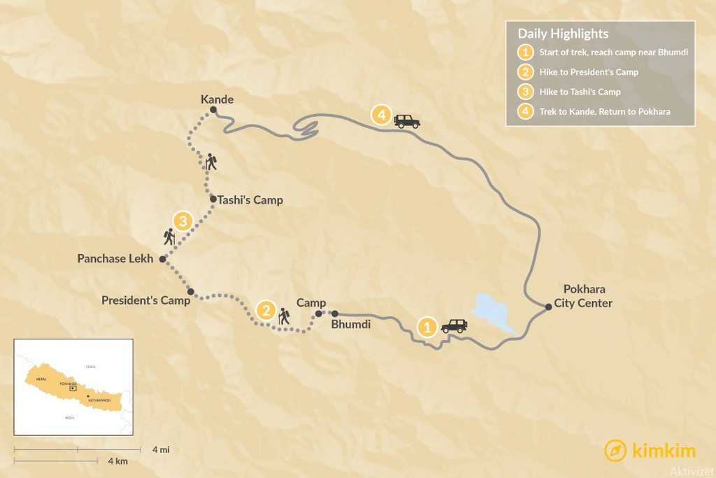 Map of The Prince's Trek through the Annapurna Foothills - 9 Days