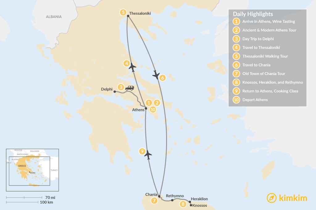 Map of Discover Athens, Thessaloniki & Crete - 10 Days