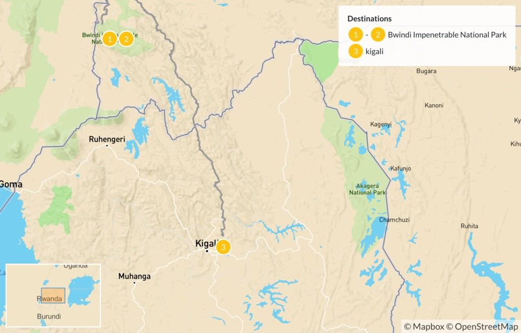 Map of Gorilla Trek in Uganda - 3 Days