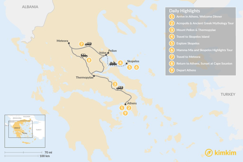 Map of Central Greece & Skopelos Exploration - 9 Days