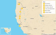 Map thumbnail of San Francisco to Portland Road Trip: Lakes, Waterfalls and Mountains - 10 Days