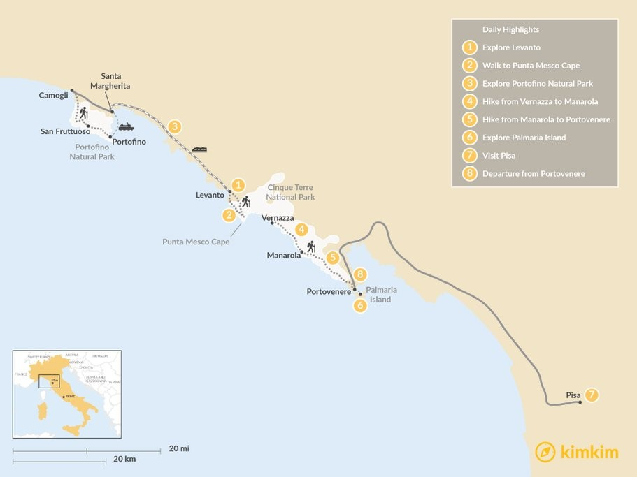 Map of Active Cinque Terre - 8 Days