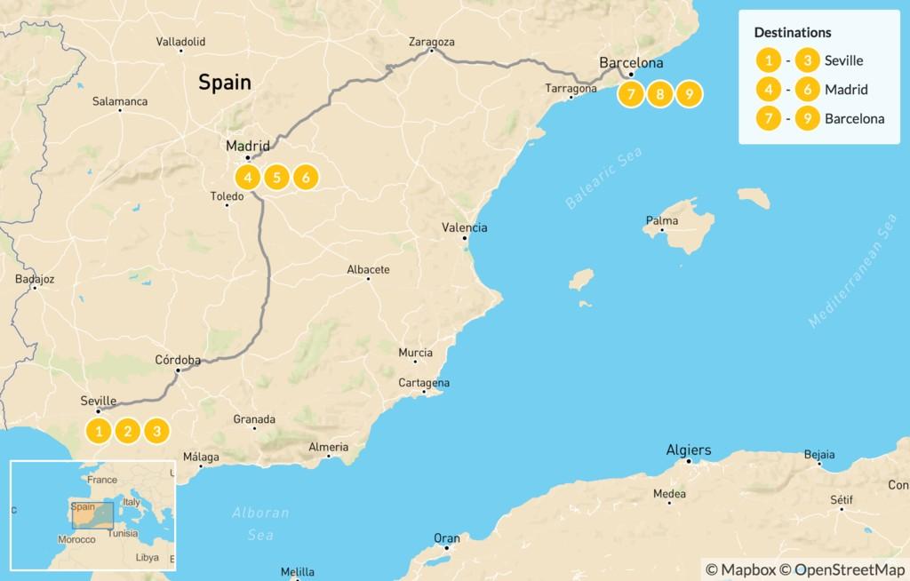 Map of Seville, Madrid & Barcelona - 10 Days