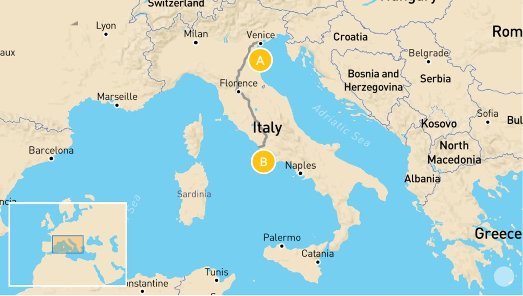 Map of Family-Friendly Highlights of Italy: Venice & Rome - 7 Days