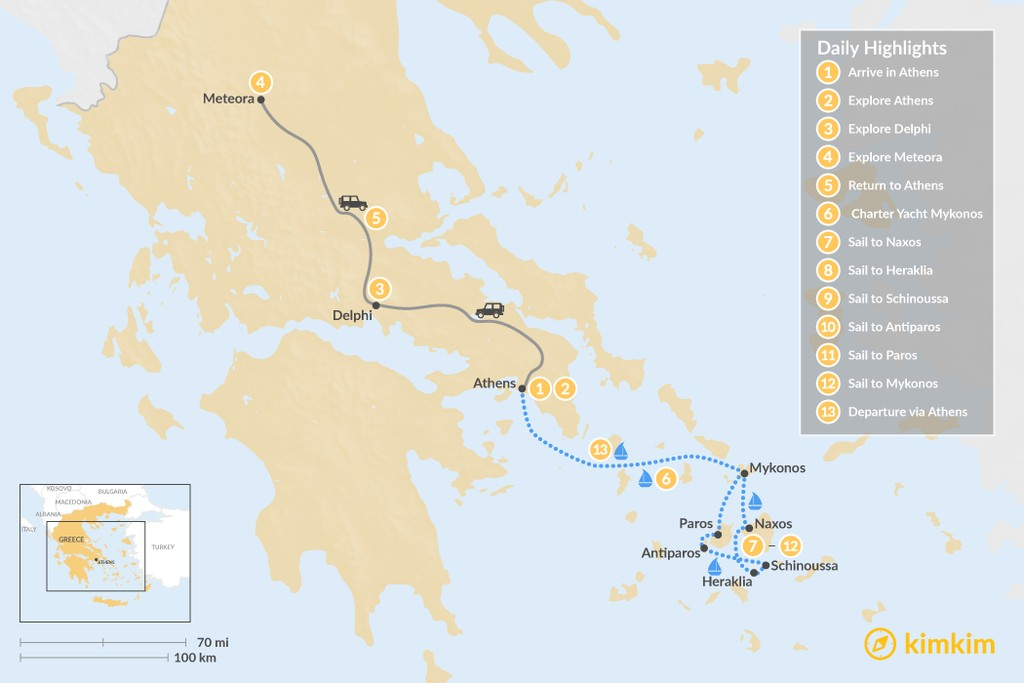 Map of Best of Greece: Athens & Cyclades Sailing - 13 Days
