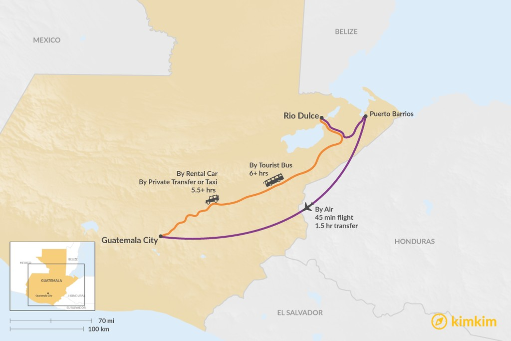 Map of How to Get from Rio Dulce to Guatemala City