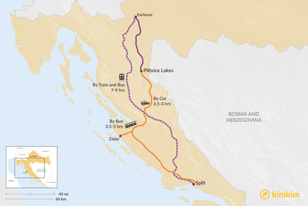 Map of How to Get from Split to Plitvice Lakes National Park