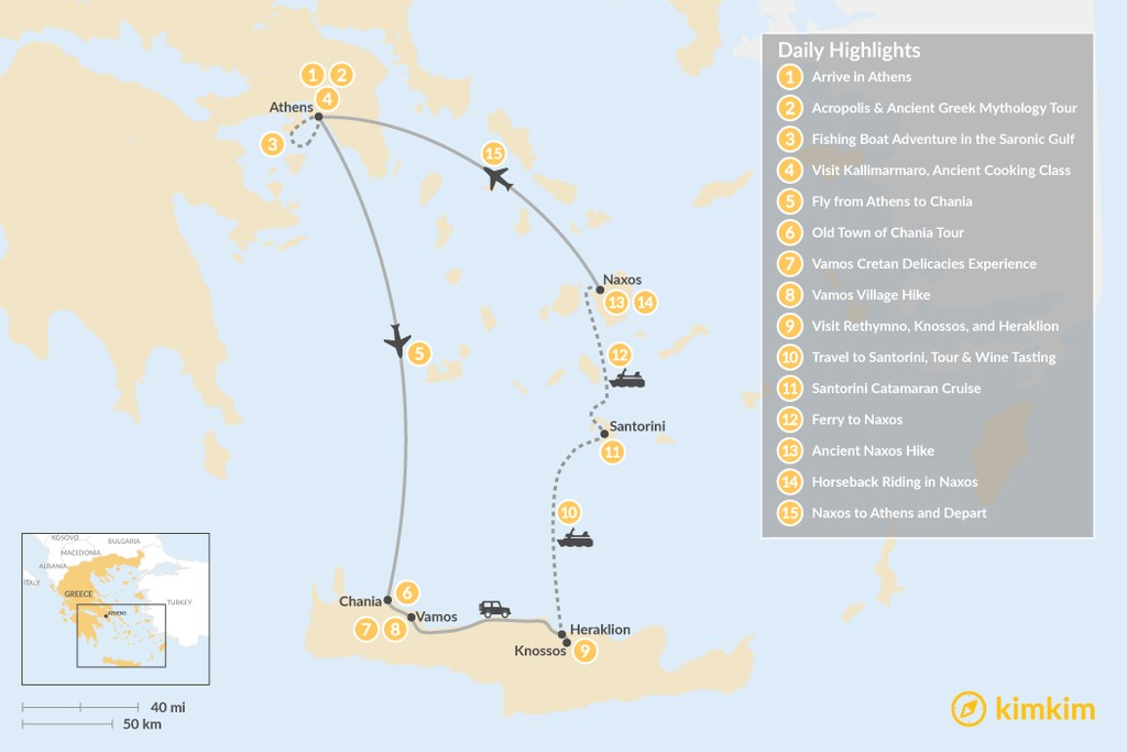 Map of Experience Local Greece: Athens, Crete, & the Cycladic Islands - 15 Days