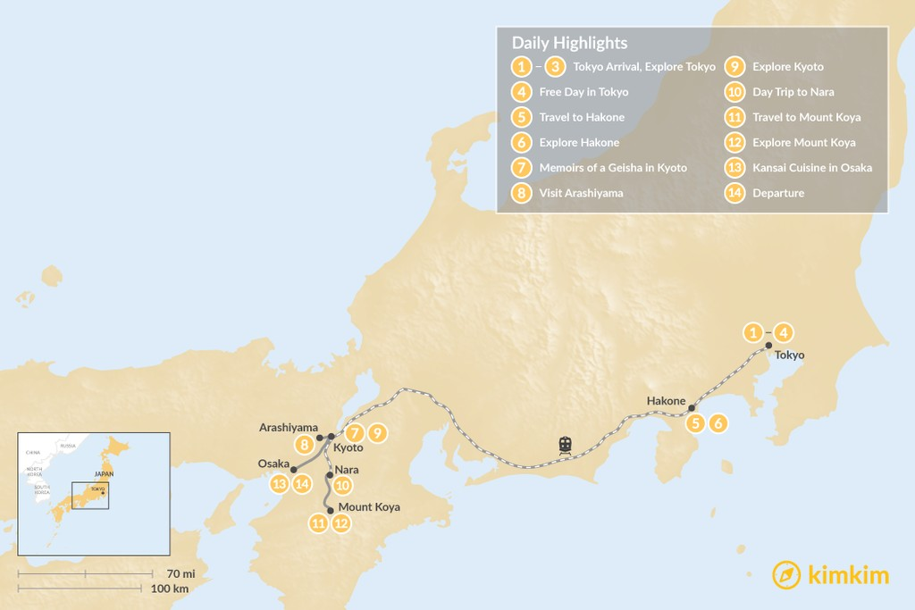Map of  Highlights of Japan: Cities, Mountains & Temples - 14 Days