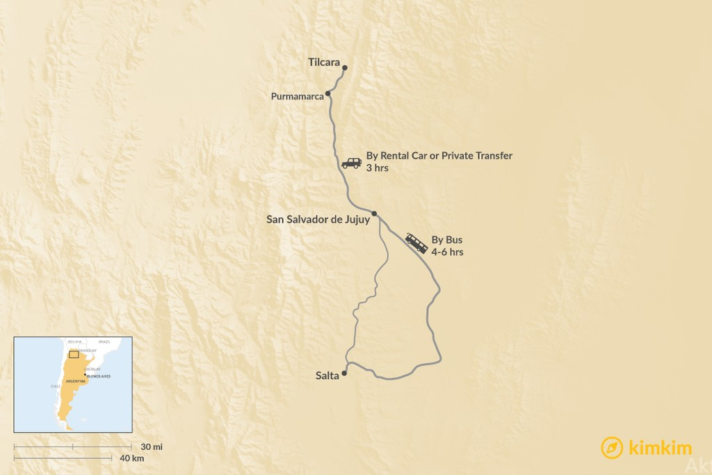 Map of How to Get from Salta to Tilcara