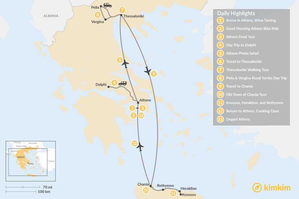 Map of Discover Athens, Thessaloniki & Crete - 13 Days