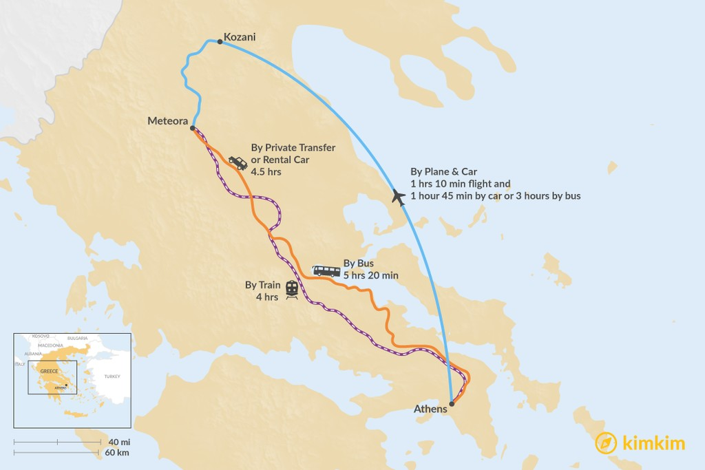 Map of How to Get from Athens to Kalabaka