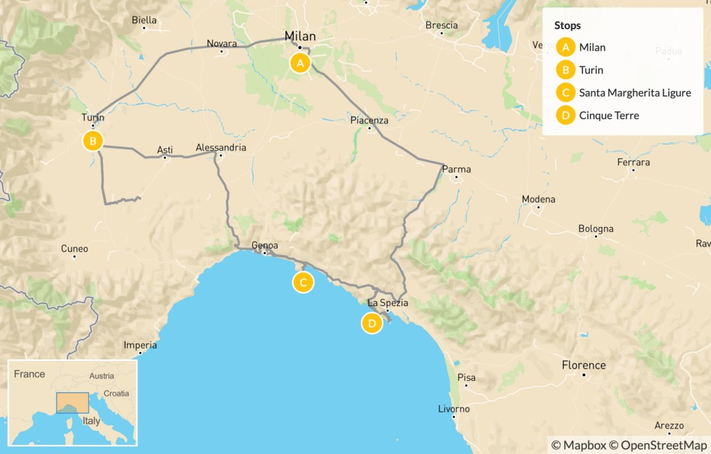 Map of Grand Cities and Classic Riviera Villages: Turin, Santa Margherita Ligure, Cinque Terre, & More - 8 Days
