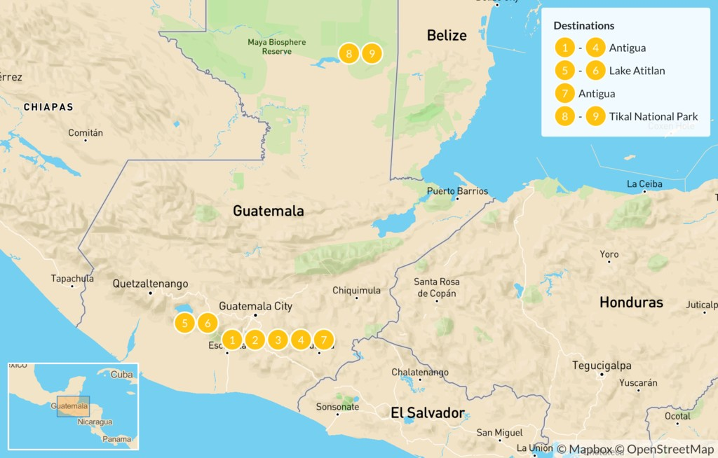 Map of Highlights of Guatemala - 10 Days