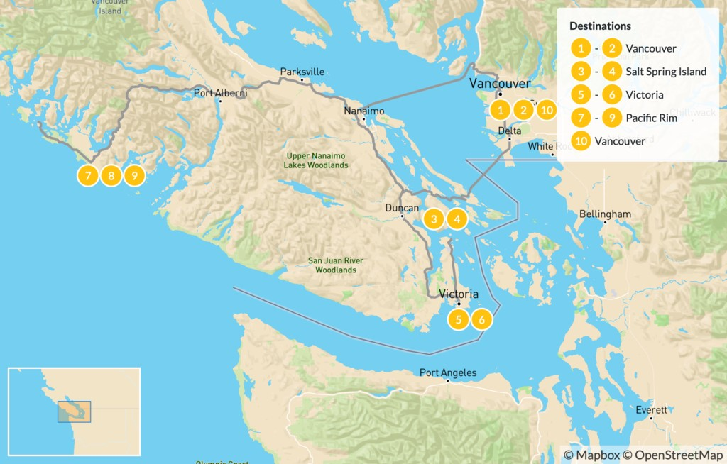 Map of Vancouver Island Road Trip: Salt Spring & Pacific Rim - 11 Days
