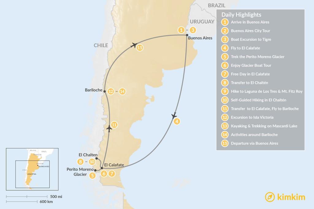 Map of Discover Argentine Patagonia: El Calafate, El Chaltén, Bariloche - 15 Days