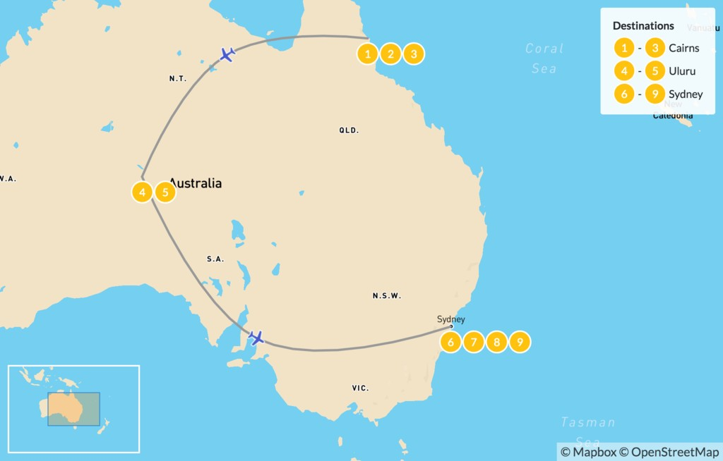 Map of The Ultimate Aussie Excursion: Cairns, Uluru, & Sydney - 10 Days