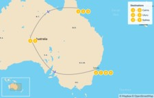 Map thumbnail of The Ultimate Aussie Excursion: Cairns, Uluru, & Sydney - 10 Days