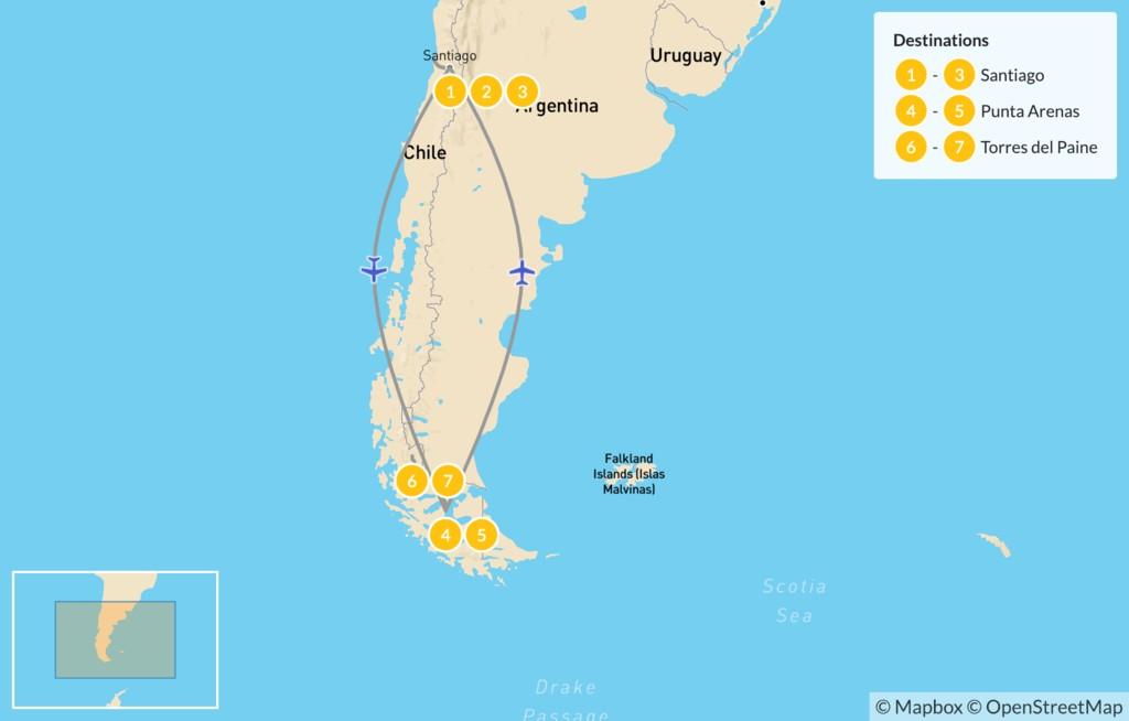 Map of Santiago, Valparaíso & Patagonia Nature Trip - 8 Days