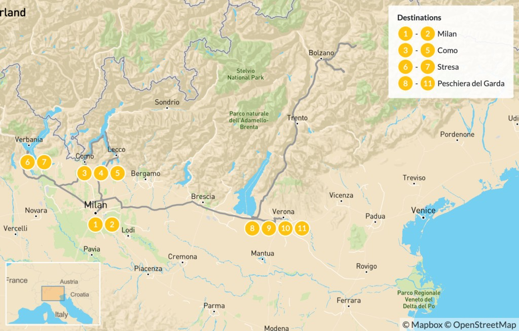 Map of Discover Milan and Italy's Lakes Region - 12 Days