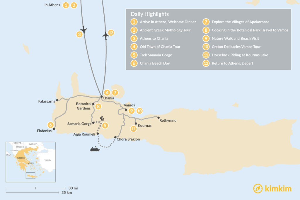 Map of Athens and Crete Family Adventure - 12 Days