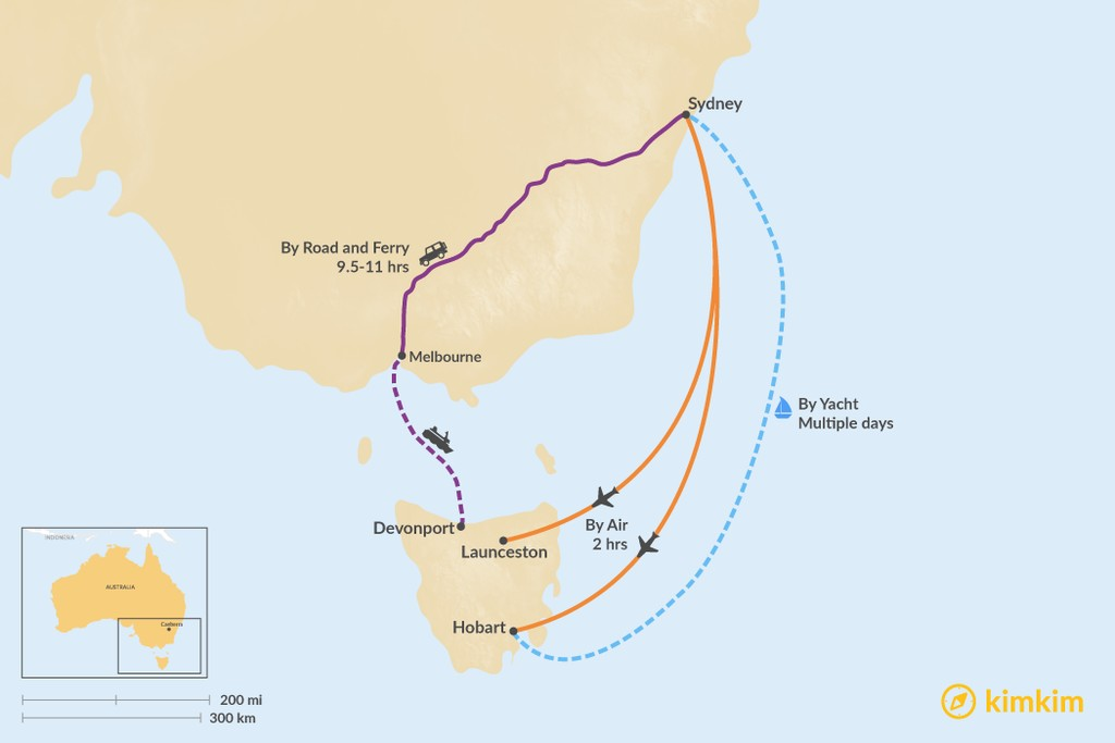 Map of How to Get from Sydney to Tasmania