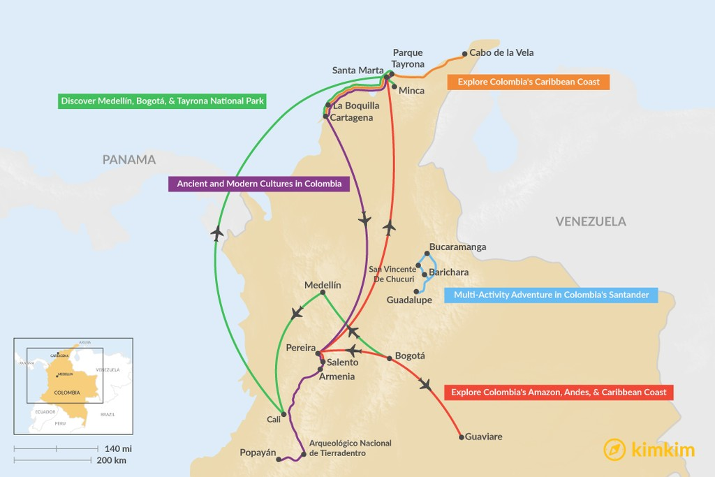 Map of 12 Days in Colombia - 5 Unique Itinerary Ideas