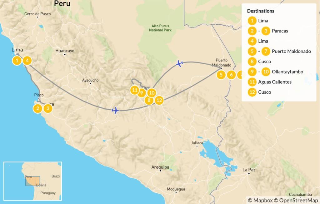 Map of Culture & Wildlife in Peru:  Nazca Lines, Machu Picchu, Amazon Rainforest, & More - 13 Days