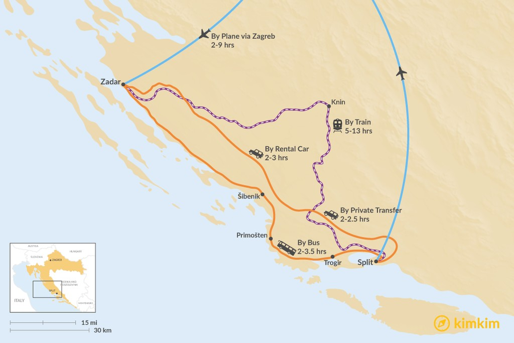 Map of How to Get from Split to Zadar