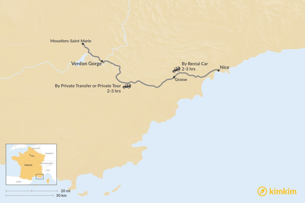 Map of How to Get from Nice to Verdon Gorge