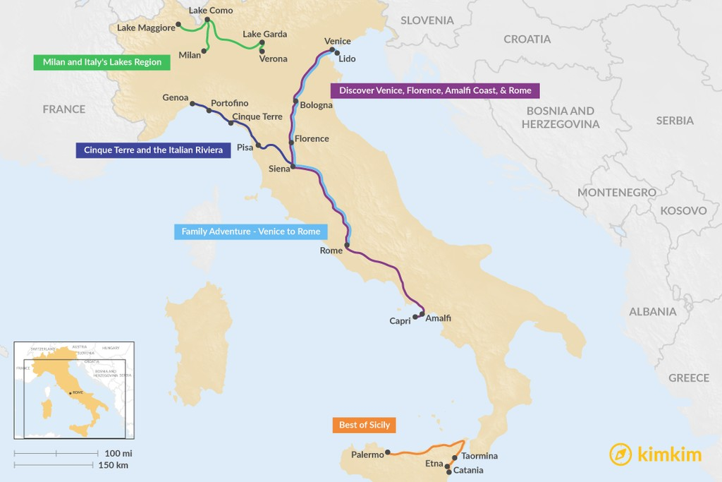 Map of 12 Days in Italy - 5 Unique Itinerary Ideas