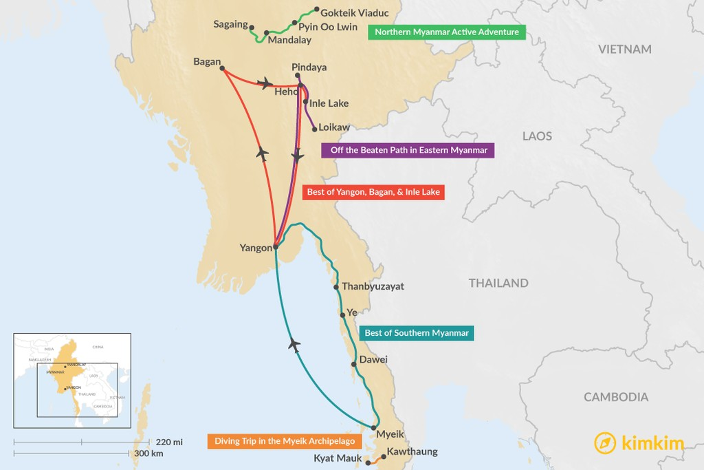 Map of 7 Days in Myanmar - 5 Unique Itinerary Ideas