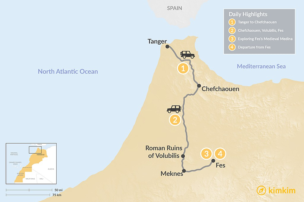Map of Northern Morocco: Tangier, Chefchaouen & Fes - 4 Days