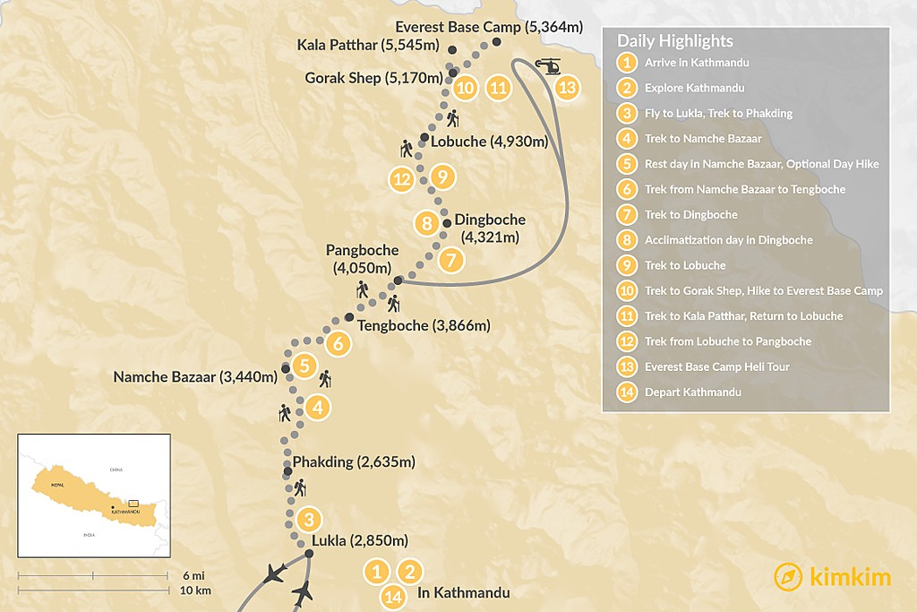Map of Everest Base Camp Heli Trek - 14 Days