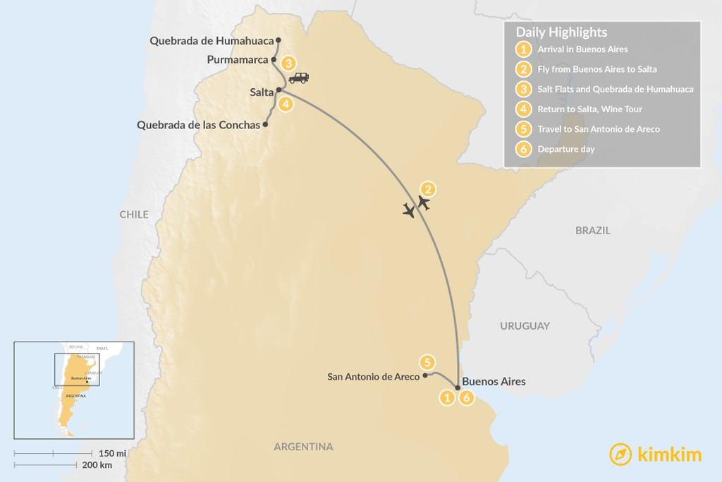 Map of Beauty of Northern Argentina - 6 Days