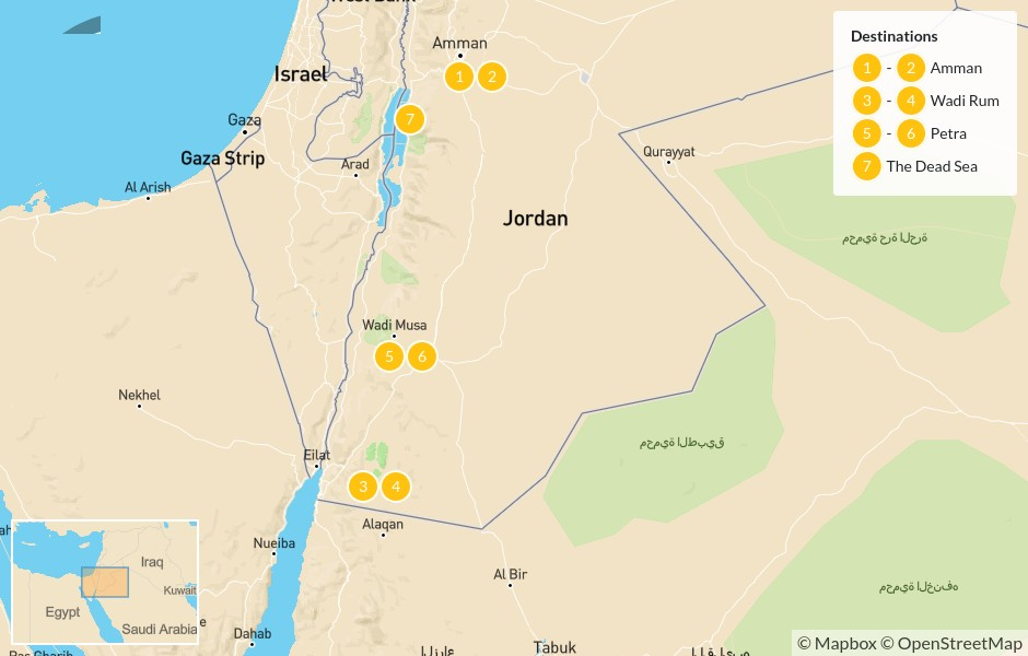 Map of Jordan Adventure: Amman, Wadi Rum, Petra, & The Dead Sea - 8 Days