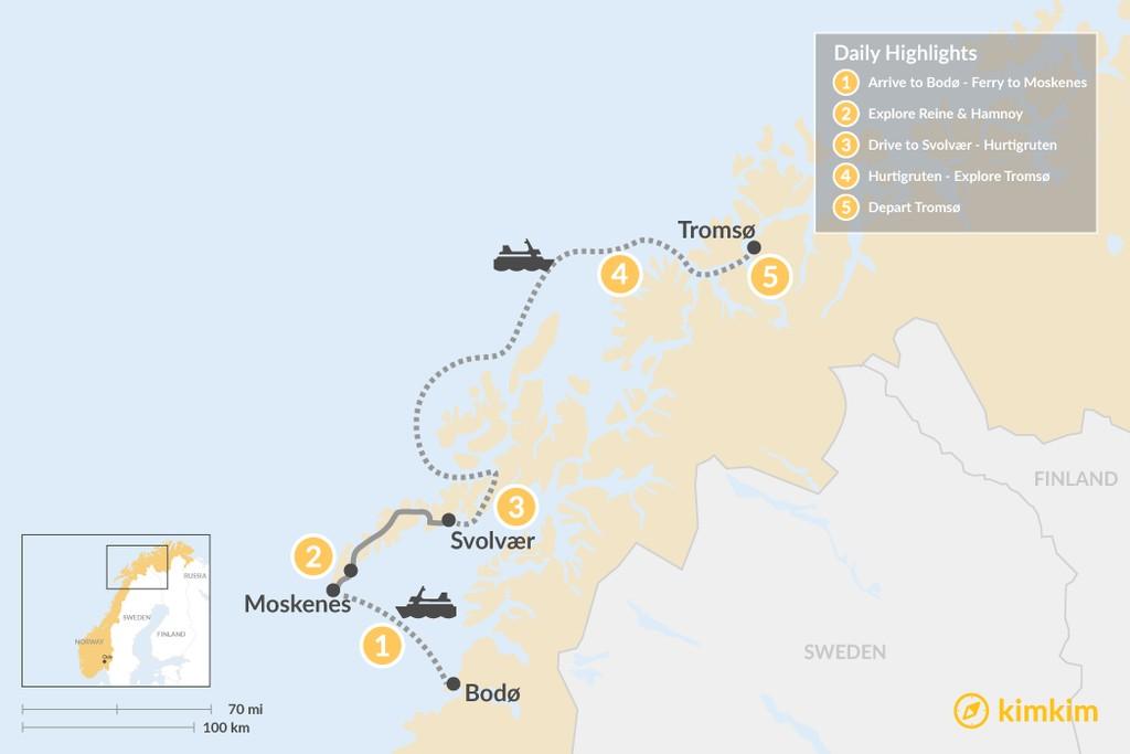 Map of Lofoten Islands & Tromsø Winter Excursion - 6 Days