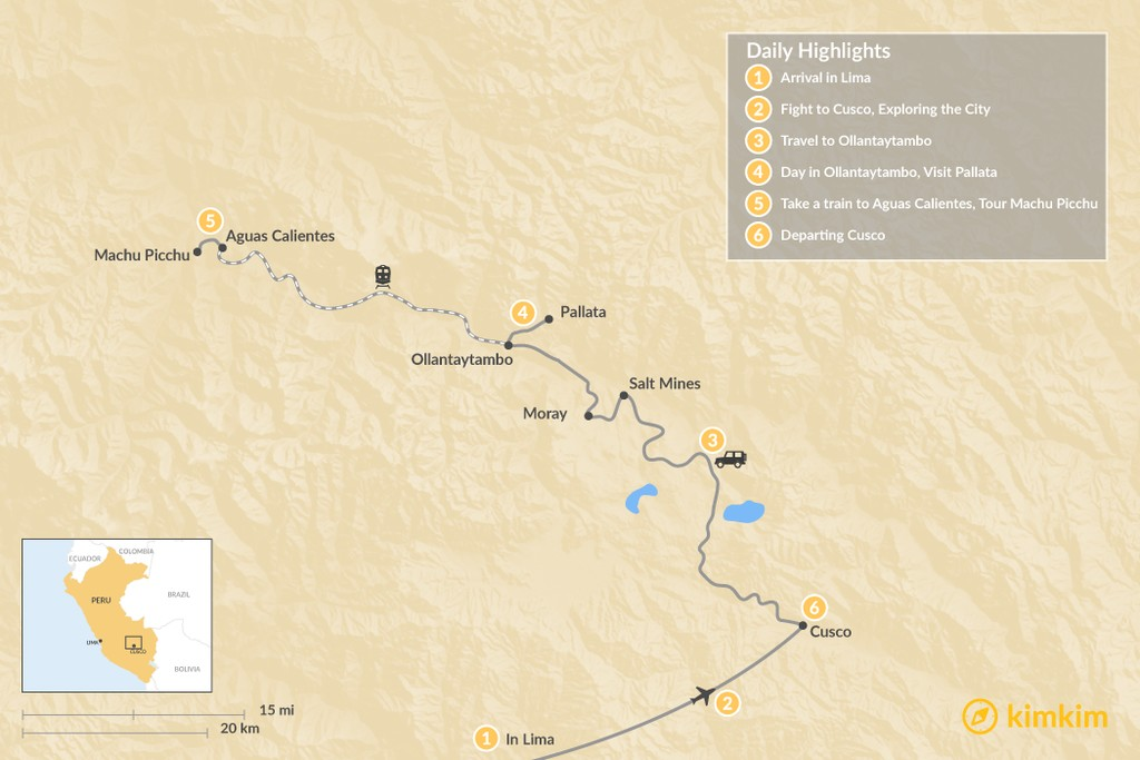 Map of Sacred Valley Adventure Tour - 6 Days