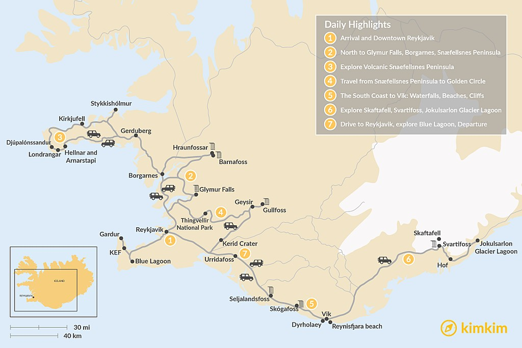 Map of Iceland Family-Friendly Winter Road Trip - 7 Days