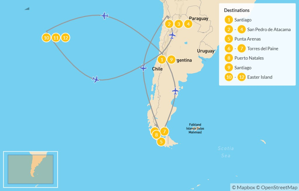 Map of Chile Grand Tour: Santiago, Atacama Desert, Torres del Paine, & Easter Island - 13 Days