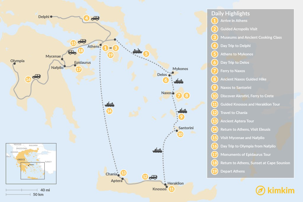 Map of Historic Athens, Mainland Greece, Cyclades, and Crete - 19 Days
