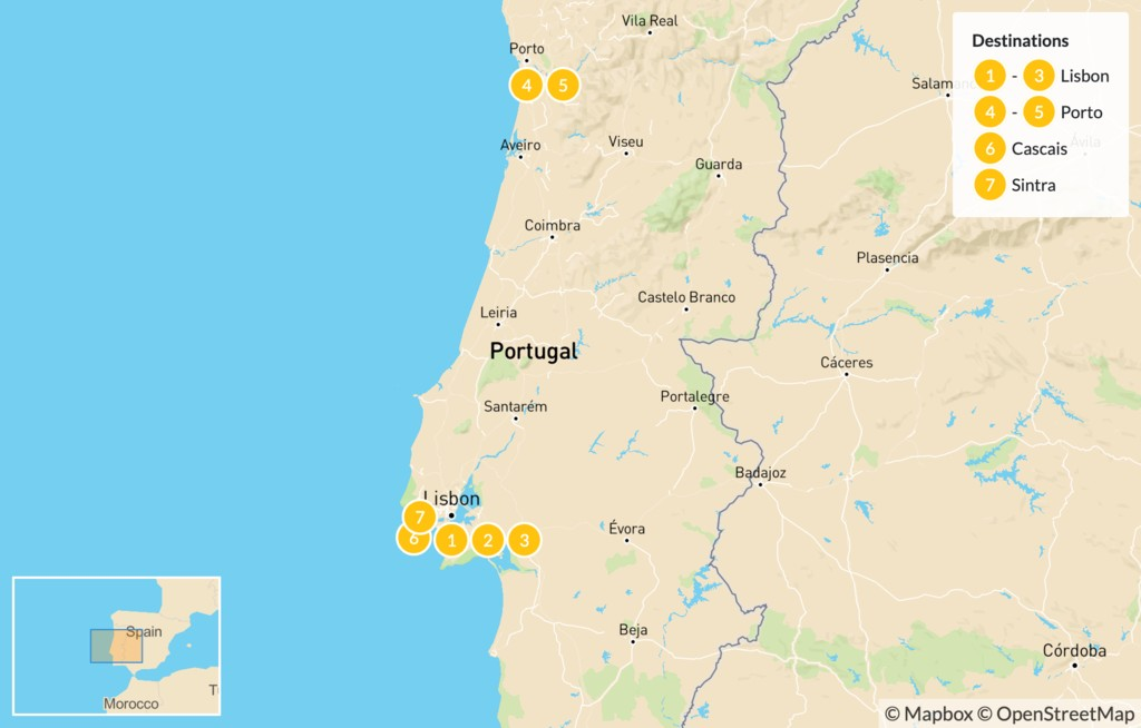 Map of Best of Lisbon and Porto: Lisbon, Porto, Cascais, and Sintra - 8 Days