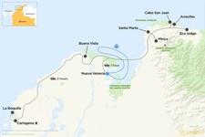 Map thumbnail of Cartagena, Tayrona Park, Arrecife and Cabo San Juan - 9 days
