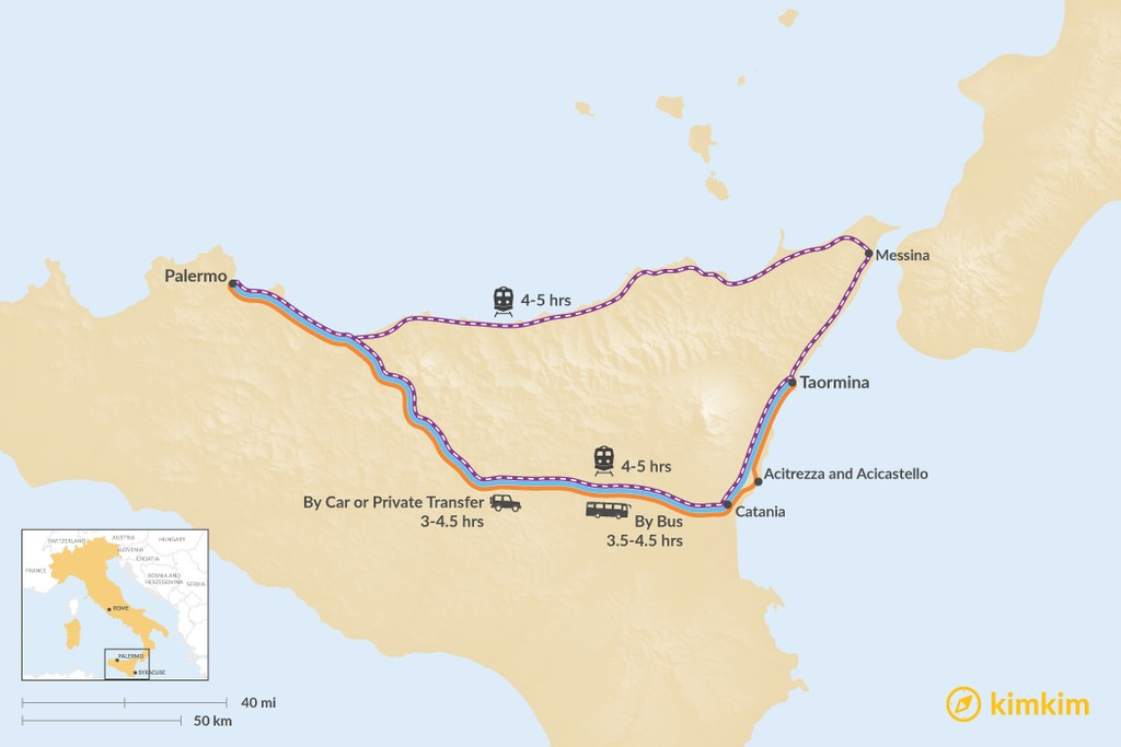 Map of How to Get from Palermo to Taormina